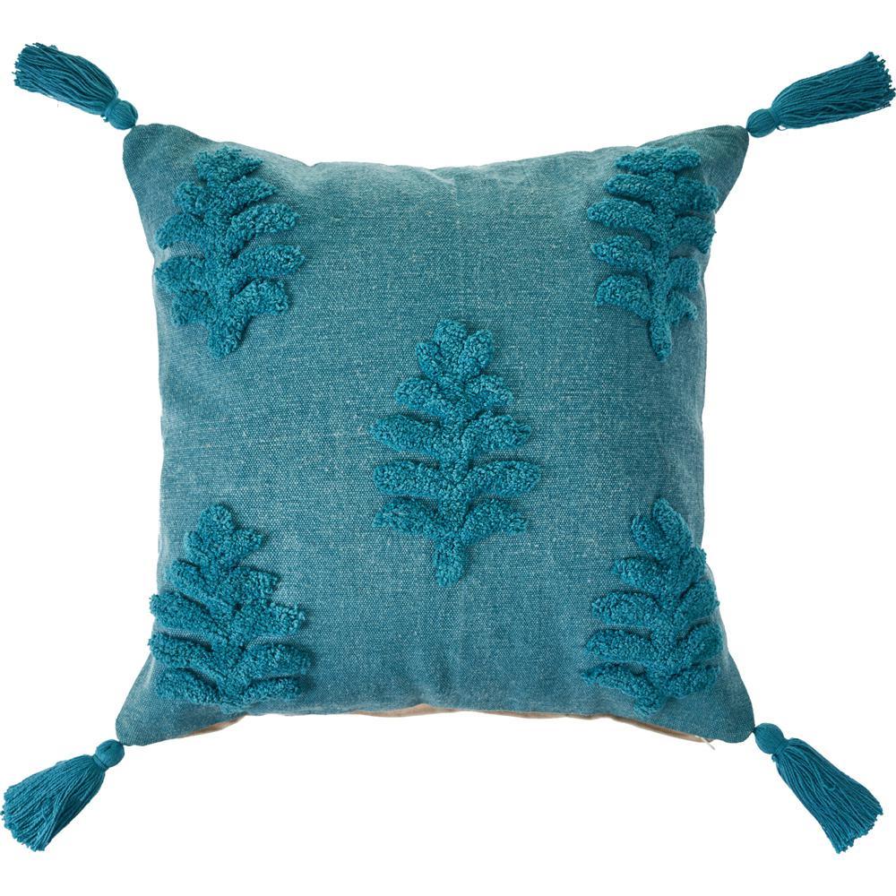 20 in. x 20 in. Blue Botanical Fern Leaf Solid Tassel Standard Throw Pillow