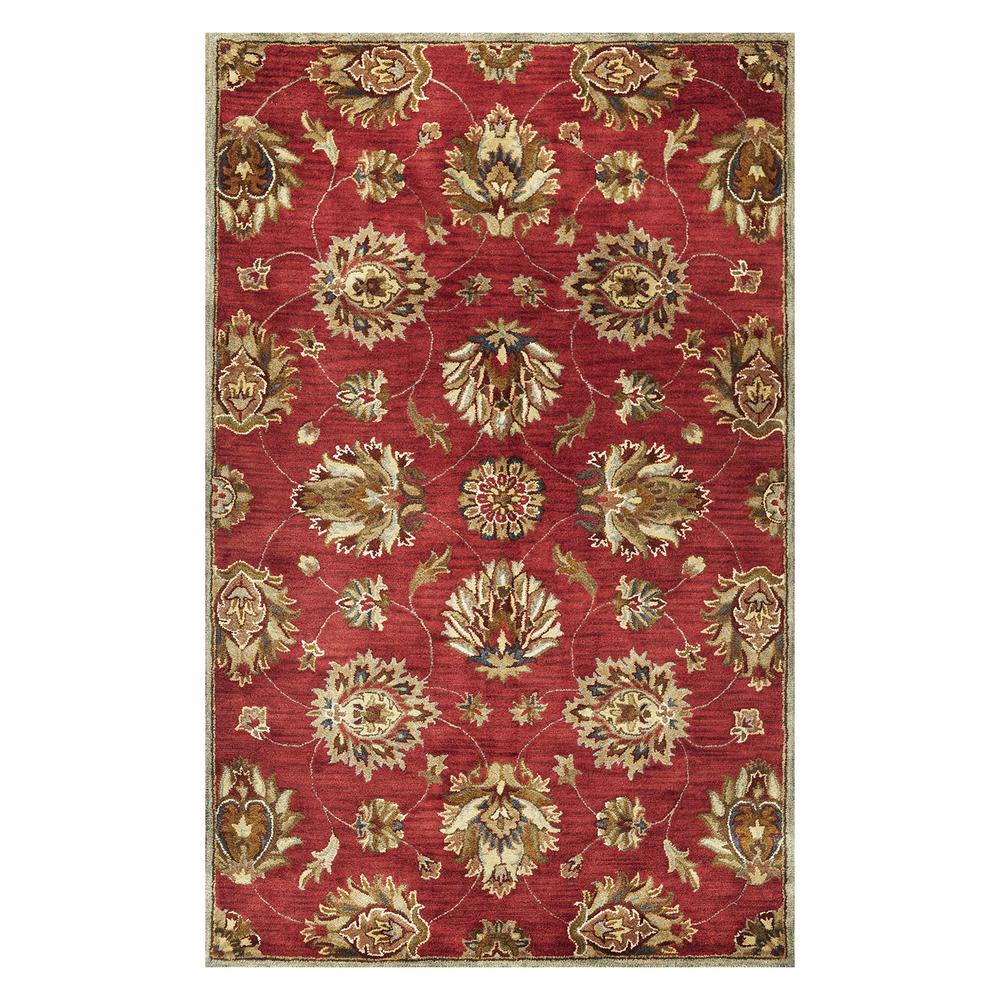 Homeroots Bernadette Red 9 Ft X 13 Ft Abstract Wool Area Rug 350604 The Home Depot