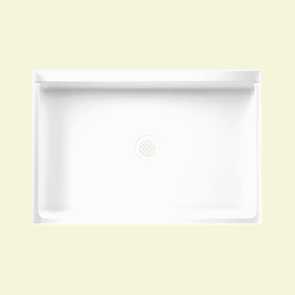 Veritek 32 in. x 48 in. Single Threshold Center Drain Shower Pan in White