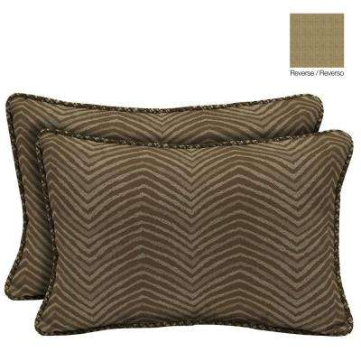 Zebra Lumbar Outdoor Throw Pillow with Welt (2-Pack)