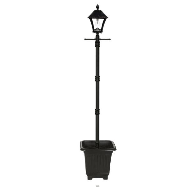 Baytown Bulb Solar Warm-White Outdoor Black Integrated LED Lamp Post with Planter and EZ-Anchor Base