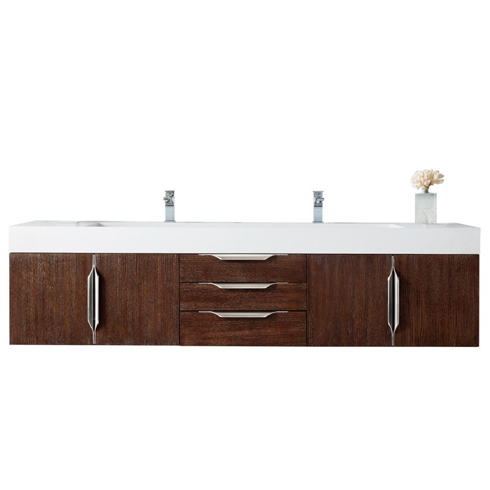 James Martin Signature Vanities Mercer Island 72 in. W Double Bath Vanity in Coffee Oak with Solid Surface Vanity Top in Matte White with White Basin