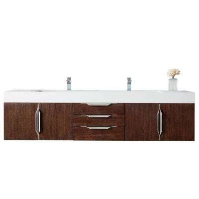 Mercer Island 72 in. W Double Bath Vanity in Coffee Oak w/ Solid Surface Vanity Top in Matte White w/ White Basin