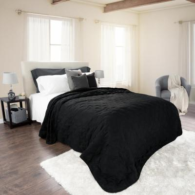 Classic Black Polyester Full and Queen Quilt