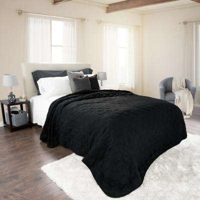 Classic Black Polyester Twin Quilt