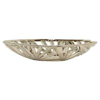 17.5 in. x 5.5 in. Decorative Pierced Silver Ceramic Bowl