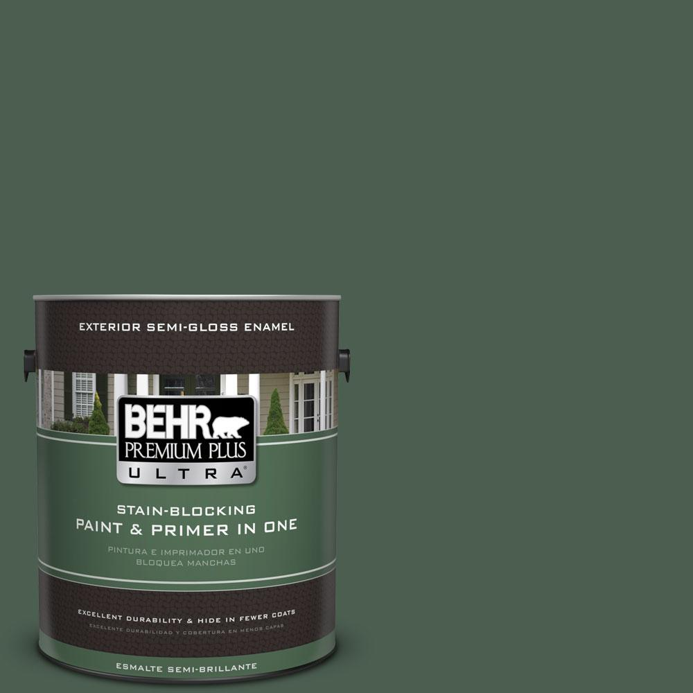 BEHR Premium Plus Ultra 1-gal. #450F-7 Hampton Green Semi-Gloss Enamel Exterior Paint