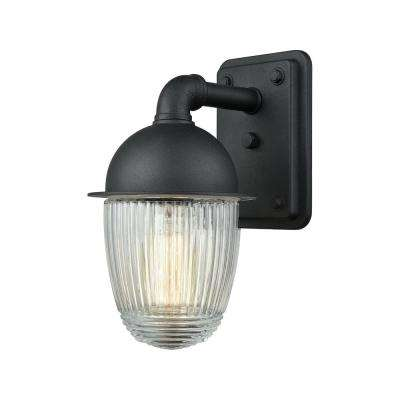 Channing Small 1-Light Matte Black with Clear Ribbed Glass Outdoor Wall Mount Sconce