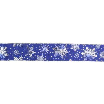 2.5 in. x 16 yds. Metallic Blue and Silver Snowflake Wired Craft Ribbon