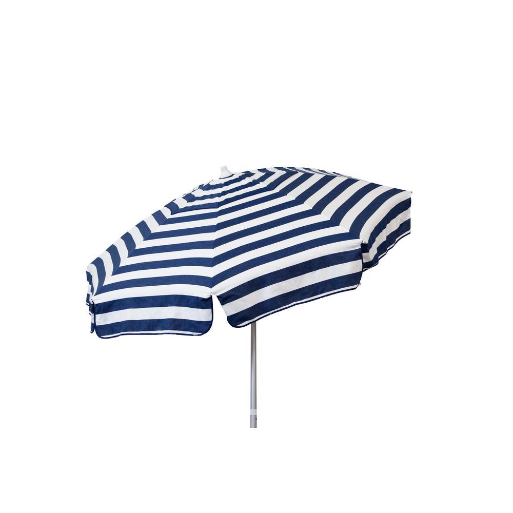 Italian 7.5 ft. Aluminum Drape Tilt Patio Umbrella in Blue and White Acrylic