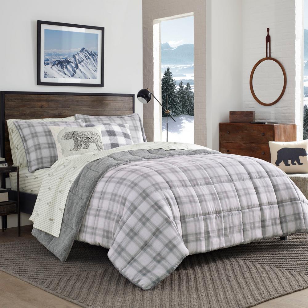 Deals on Eddie Bauer Sherwood Plaid 2-Piece Gray Twin Comforter Set