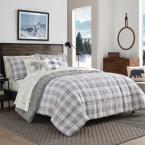 3-Piece Gray Sherwood Plaid Charcoal Polyester Full/Queen Comforter Set