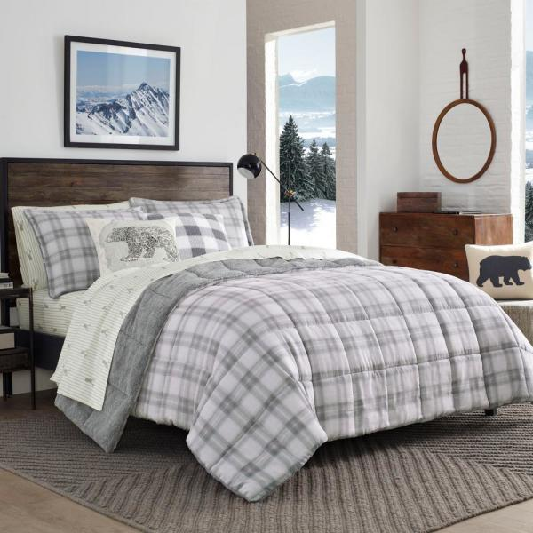 3-Piece Gray Sherwood Plaid Charcoal Polyester King Comforter Set