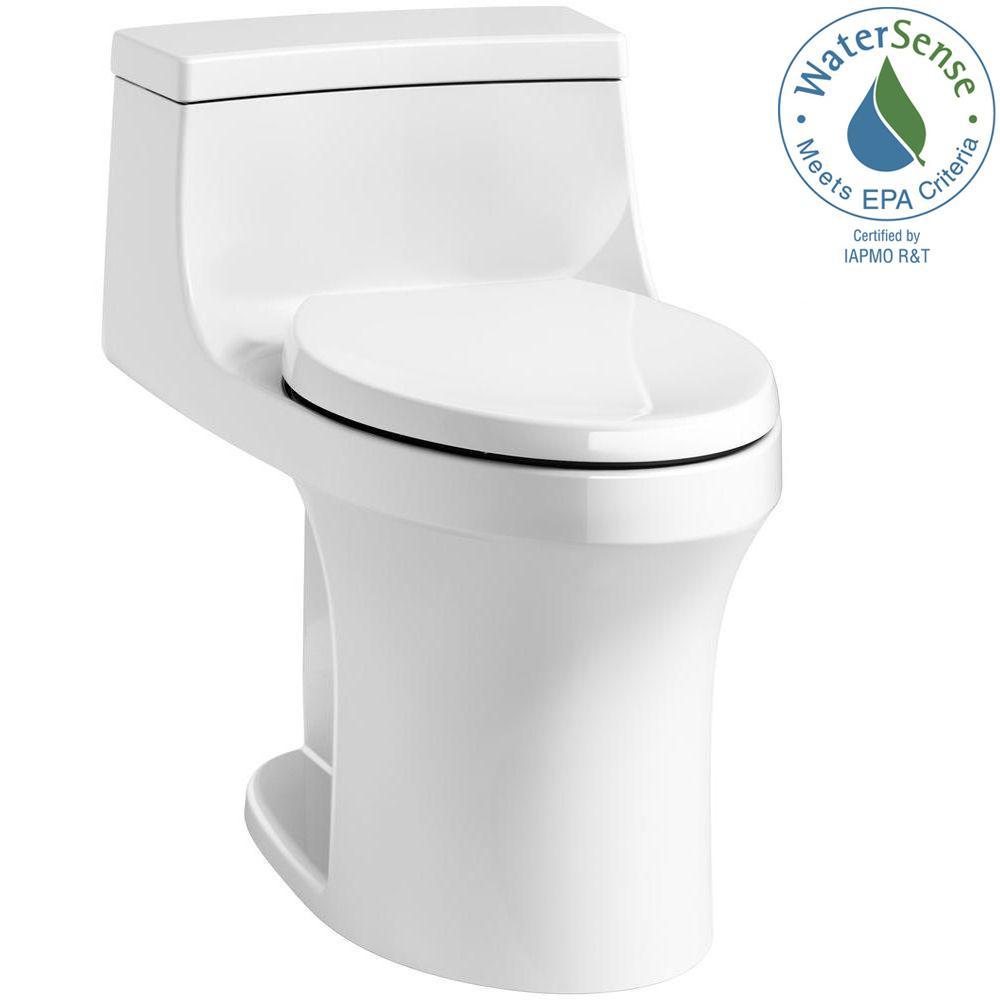 KOHLER San Souci 1-piece 1.28 GPF Single Flush Elongated Toilet in White