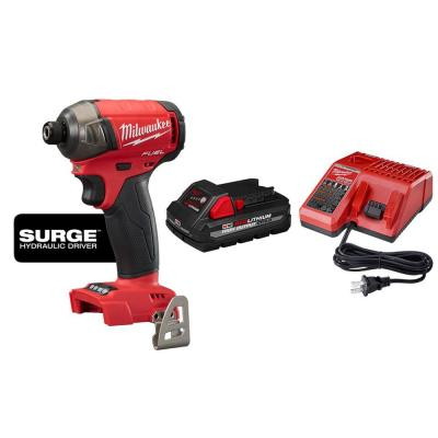 Milwaukee M18 FUEL SURGE 18-Volt Lithium-Ion Brushless Cordless 1/4 in. Hex Impact Driver w/ 3.0Ah Battery and Charger