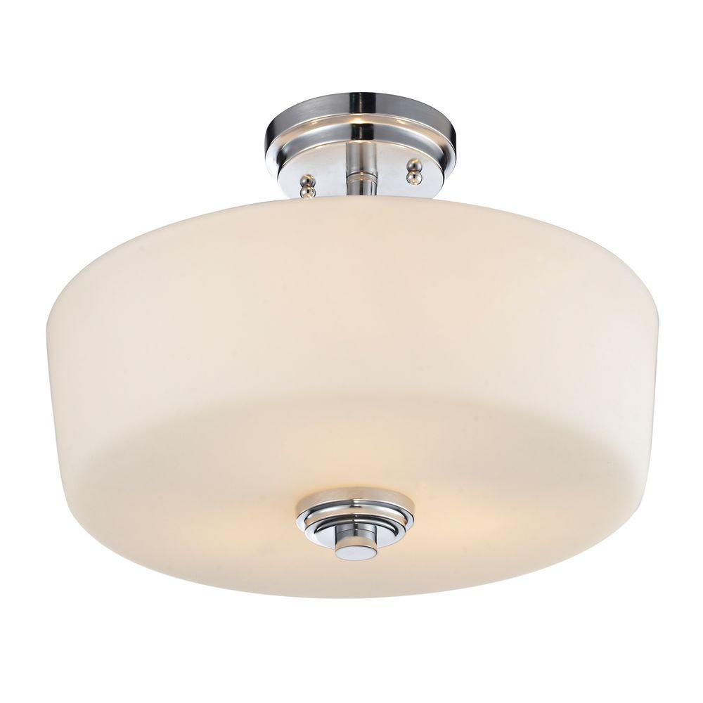 Ivory 3-Light Chrome Semi-Flush Mount Light