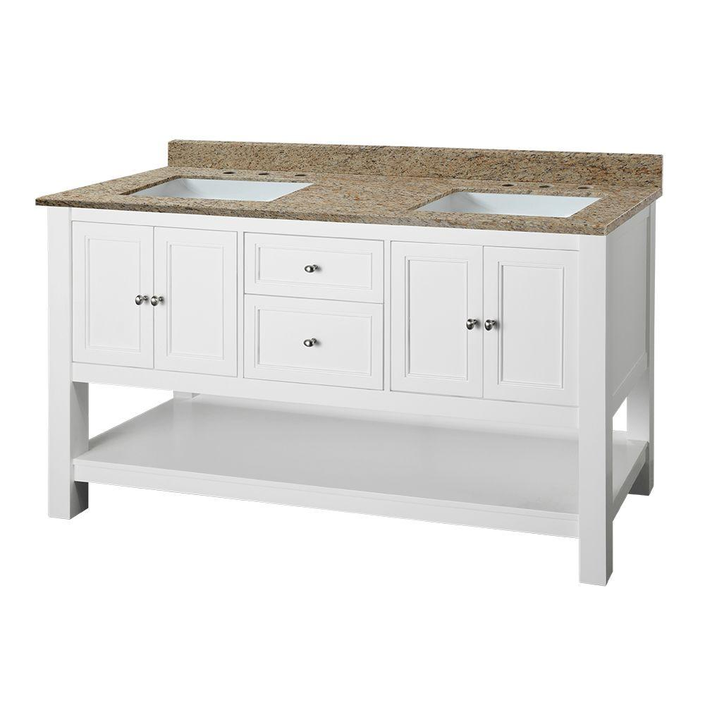 Home Decorators Collection Gazette 61 in. W x 22 in. D Double Vanity in White with Granite Vanity Top in Ornamental Giallo and White Sinks