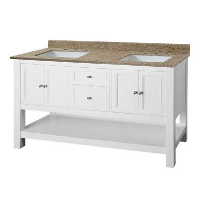 Home decorators collection gazette 61 in w x 22 in d double vanity in white with granite vanity top in ornamental giallo and white basins