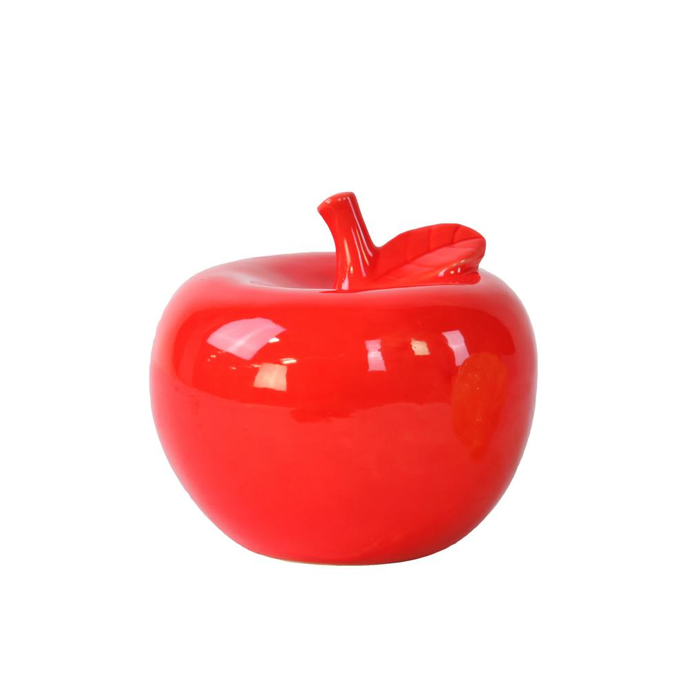 5 in. H Apple Decorative Figurine in Red Gloss Finish