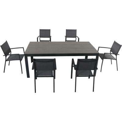 Yuma 7-Piece Aluminum Outdoor Dining Set with 6-Sling Arm Chairs and a Faux Wood Dining Table