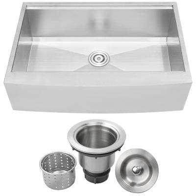Bryce Zero Radius Farmhouse Apron Front 16-Gauge Stainless Steel 33 in. Single Basin Kitchen Sink with Basket Strainer
