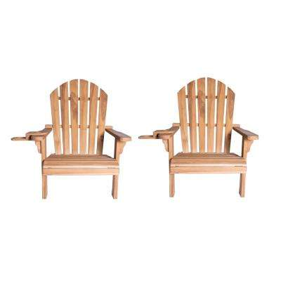 Redondo Teak Wood Adirondack Chair and Cup Holder (2-Pack)
