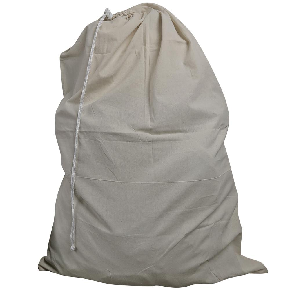 Evelots Drawstring Beige Canvas Laundry Bag