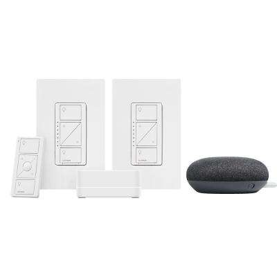 Caseta Wireless Smart Lighting Start Kit with Pico Remote, 2-Dimmer Switches, and Google Home Mini, Charcoal