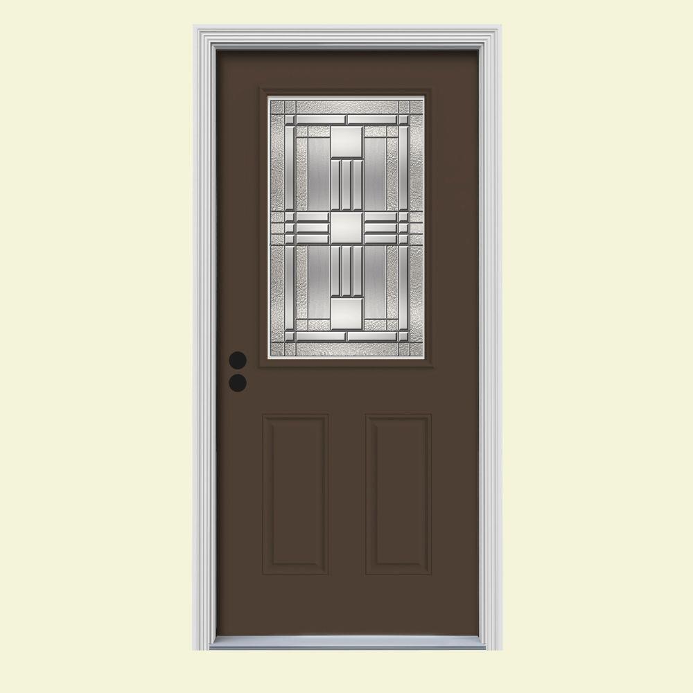 JELD-WEN 32 in. x 80 in. 1/2 Lite Cordova Dark Chocolate Painted Steel Prehung Right-Hand Inswing Front Door w/Brickmould