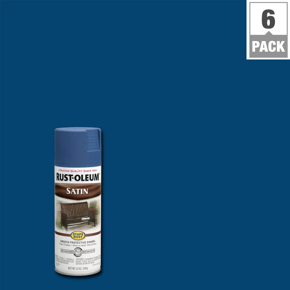 12 oz. Protective Enamel Satin Indigo Spray Paint (6-Pack)