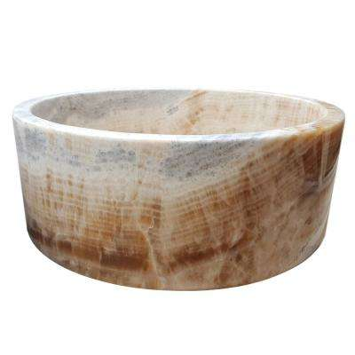 Cylindrical Natural Stone Vessel Sink in Gold