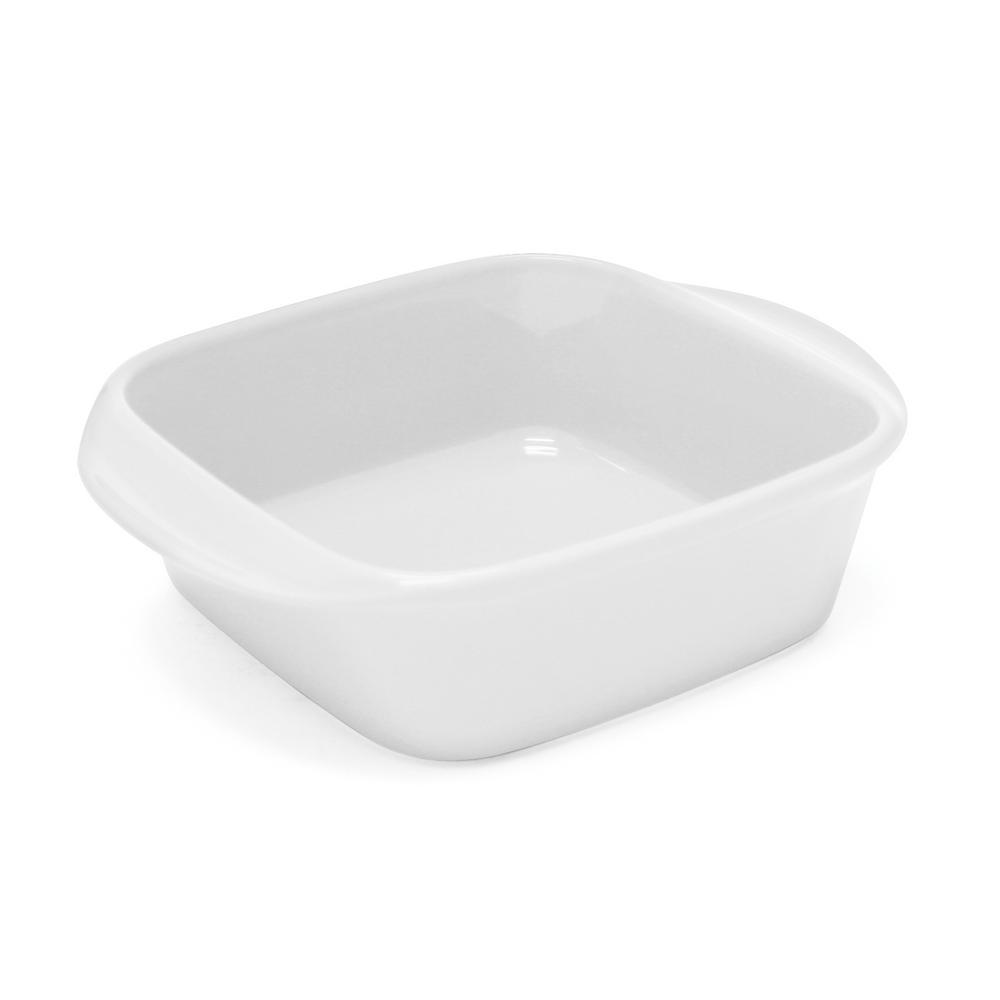 Classic 2.25 Qt. Glossy White Square Ceramic Baker