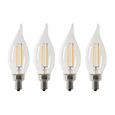 40-Watt Equivalent CA10 Candelabra Dimmable Filament CEC LED ENERGY STAR Clear Glass Light Bulb, Soft White (4-Pack)