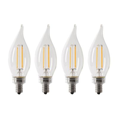 40-Watt Equivalent CA10 Candelabra Dimmable Filament CEC Clear Glass Chandelier LED Light Bulb, Soft White (4-Pack)