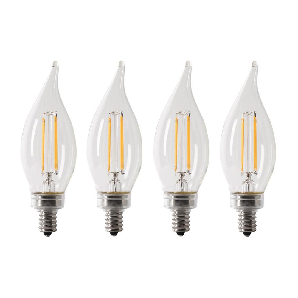 Feit Electric 40-Watt Equivalent CA10 Candelabra Dimmable Filament CEC Clear Glass Chandelier LED Light Bulb, Soft White (4-Pack)