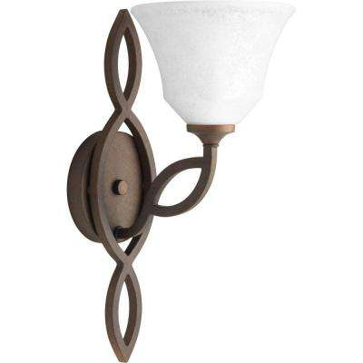 Monogram Collection 1-Light Roasted Java Wall Sconce with Watermark Glass