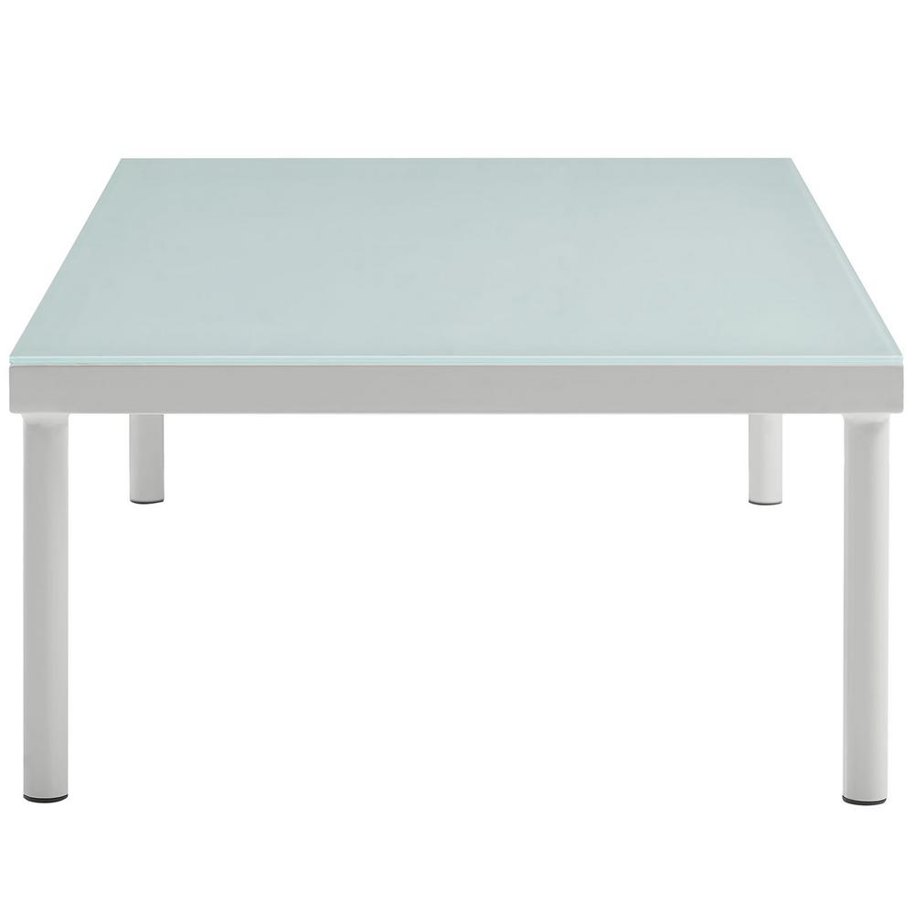 Harmony Patio Aluminum Outdoor Coffee Table in White