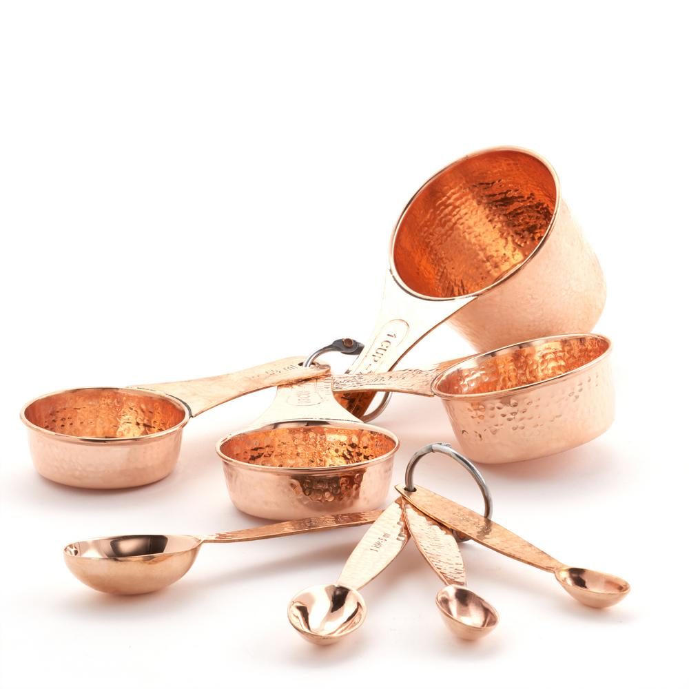 Copper Stainless Steel Measuring Cups and Spoons set of 8 Professional...