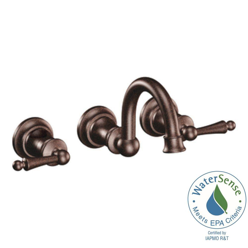 Moen Waterhill Wall Mount 2 Handle High Arc Bathroom Faucet Trim Kit In Oil Rubbed Bronze Valve