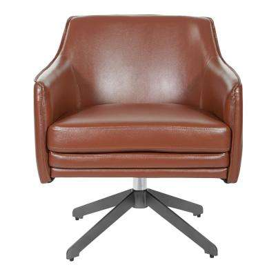 Faux Leather Swivel Guest Chair in Saddle Faux Leather with Black Base