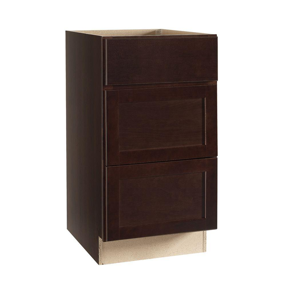 Hampton Bay Shaker Assembled 18x34.5x24 in. Drawer Base Kitchen Cabinet with Ball-Bearing Drawer Glides in Java
