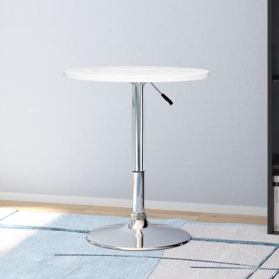 Adjustable Height White Swivel Round Bar Table