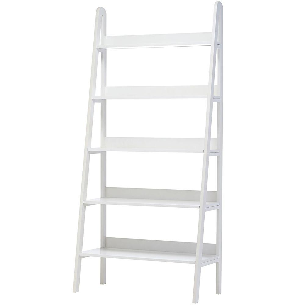 Home Decorators Collection Torrence 30 in. W 5-Shelf Ladder Bookshelf in White
