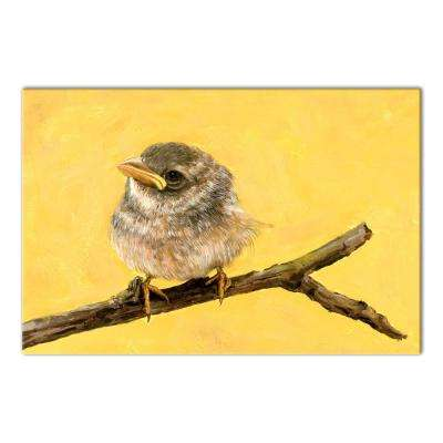 16 in. x 24 in. ''Little Brown Bird - Yellow'' Printed Canvas Wall Art
