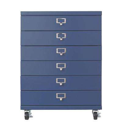 Becker 6-Drawer Metal Cart in Sapphire