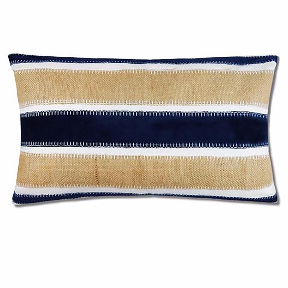 Velvet Navy Stripe Pillow