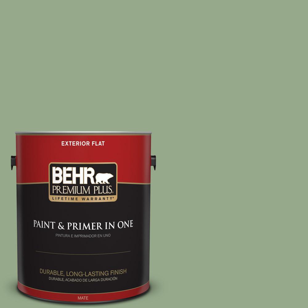 1 gal. #PPU11-05 Pesto Green Flat Exterior Paint