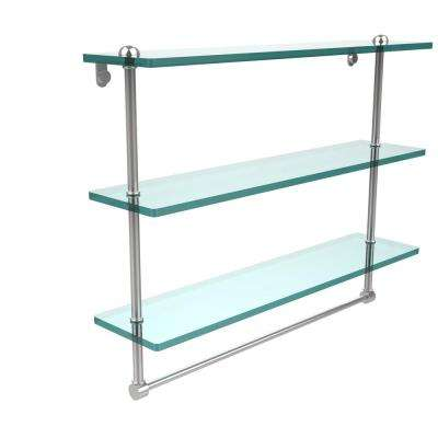22 in. Triple Tiered Glass Shelf with Integrated Towel Bar in Polished Chrome