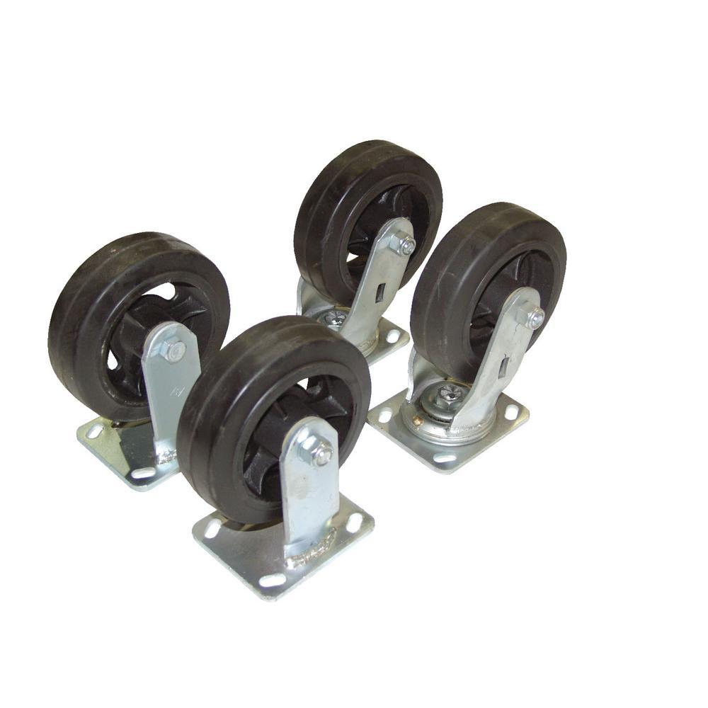 Vestil 2,400 lb. Capacity 8 inch x 2 inch Mold-On-Rubber Caster Kit - Set of 4 by Vestil