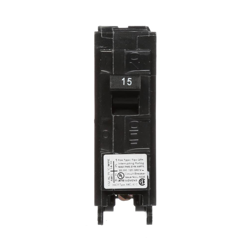 siemens 15 amp 1 pole 22 ka type qph circuit breaker q115h the home depot. Black Bedroom Furniture Sets. Home Design Ideas
